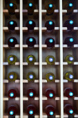 shelves with wine bottles at  cafe  — Foto de Stock