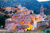 Spanish  town in evening. — Stock Photo