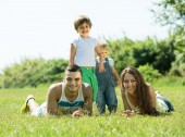 Family of four in grass at park — Stock Photo