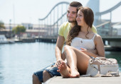 Couple sitting on berth — Stock Photo