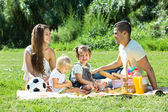 Parents with  daughters having  picnic — Stock Photo