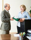 man congratulating colleague  — Stock Photo