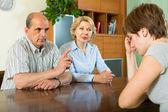 Mature parents berating adult daughter — Stockfoto