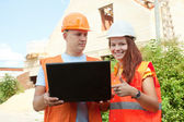 builders works at building site  — Stock Photo