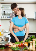 young loving couple cooking together  — Stock Photo