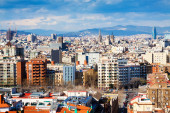 View of  Barcelona city from Montjuic — Foto Stock