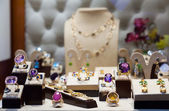 Golden jewelry with gems   — Stock Photo