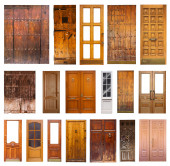 Set of many wooden doors. — Zdjęcie stockowe