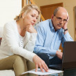 Serious mature couple with laptop — Stock Photo #57460975