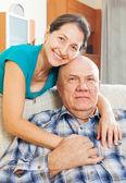Portrait of happy mature woman with  husband — Zdjęcie stockowe