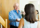 mature man giving jewel in box to woman   — Stock Photo