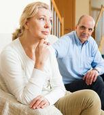 Mature couple having quarrel at home — Stockfoto