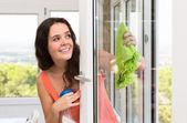 Ama de casa limpiar ventanas — Foto de Stock