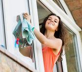 Beaty housewife cleaning windows with rag  — Stockfoto