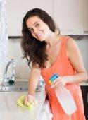 Gospodyni czyszczenia mebli w kuchni — Zdjęcie stockowe