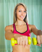 Girl working out indoor — Foto Stock