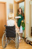 Woman in wheelchair meeting assistant  — Stock Photo