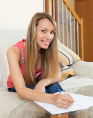 Girl working with documents — Foto de Stock