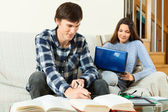 Students preparing for exam with books and notebook — Stockfoto