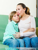 Mother comforting boy — Stock Photo
