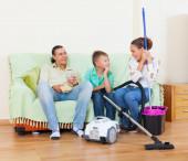 Family finished housework — Stock Photo