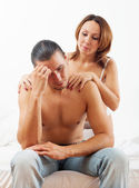 man has problem, a woman comforting him — Foto Stock