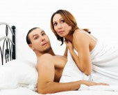 Frightened man and woman caught during adultery — Stock Photo