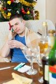 Man having headache after celebrating — Foto de Stock