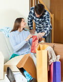 Woman showing purchases — Stock Photo