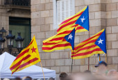Few  Catalonia flags — Stock Photo