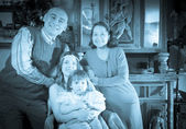 Imitation of antique portrait of happy family  — Stock fotografie