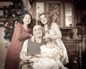 Imitation of aged photo of happy  family   — Stock fotografie