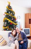 Kerstmis meisje met cadeau — Stok fotoğraf