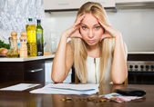 Serious  girl with money and documents — Stock Photo