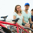 Parents and son with bicycles — Stock Photo #59530895