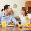 Happy man and woman having breakfast   — Stockfoto #59533371