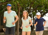 family doing running outdoor  — Stock Photo