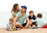 Parents with children resting  — Stok fotoğraf