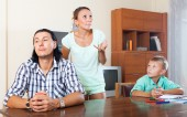 Family after quarrel — Stock Photo