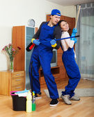 Playful professional cleaners — Stock Photo
