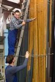 Two workers choosing PVC window profile  — Stock Photo