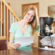 Woman with   coffee maker — Stock Photo #61577853