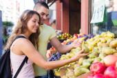Couple picking fruits — Stock Photo