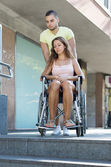 Handicapped and city navigation — Stock Photo