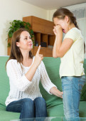 Woman scolding  child — Stock Photo