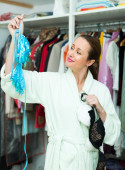 Woman choosing  underclothing — Stock Photo