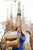Girl  shopping  in Barcelona — Stock Photo