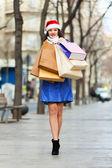 Shopping Christmas woman — Stock Photo