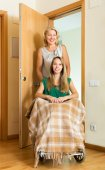 Social worker and disabled girl — Stock Photo