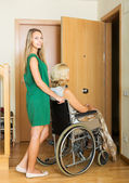 Social worker and disabled woman — Stock Photo